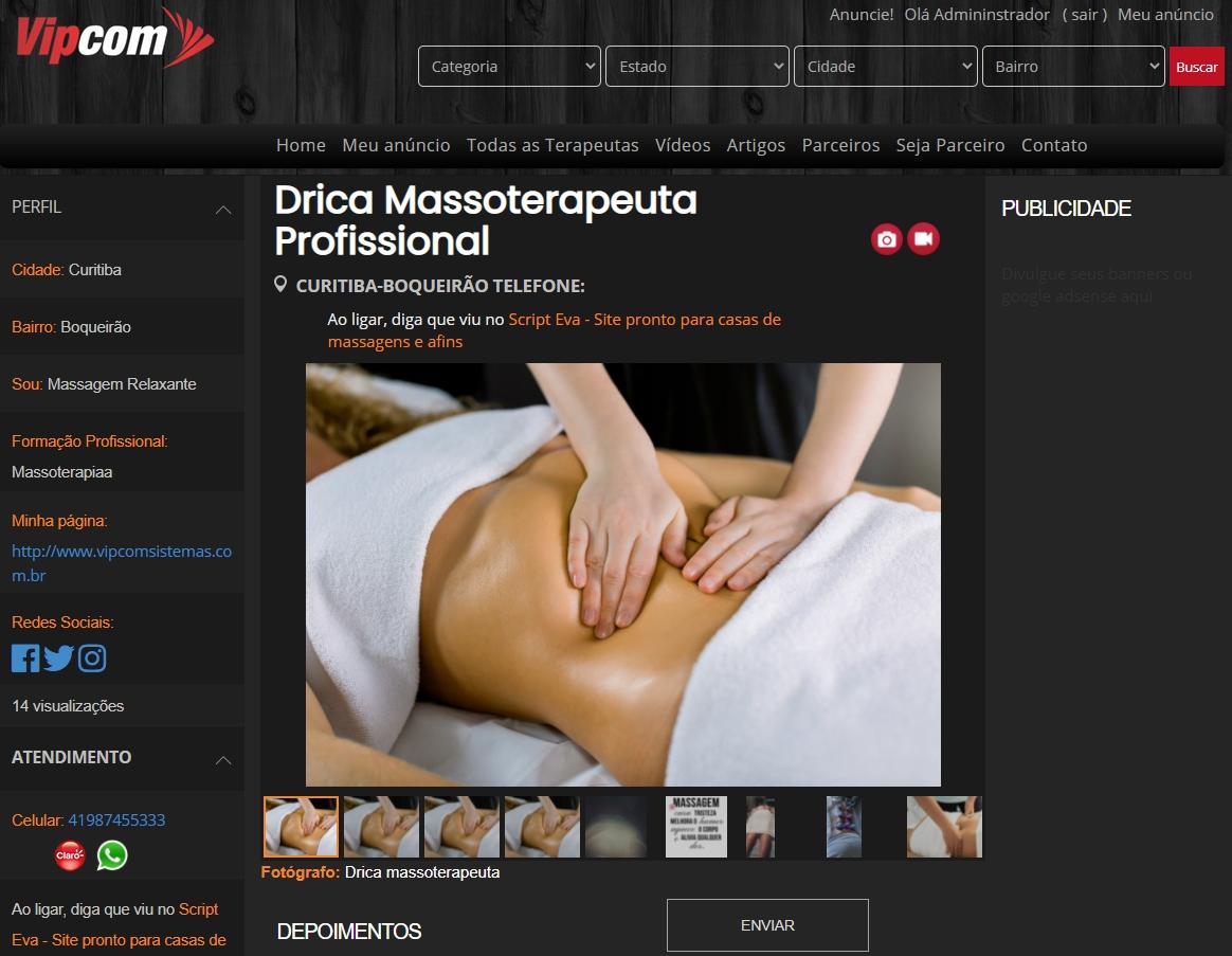 Criar um site de massagens